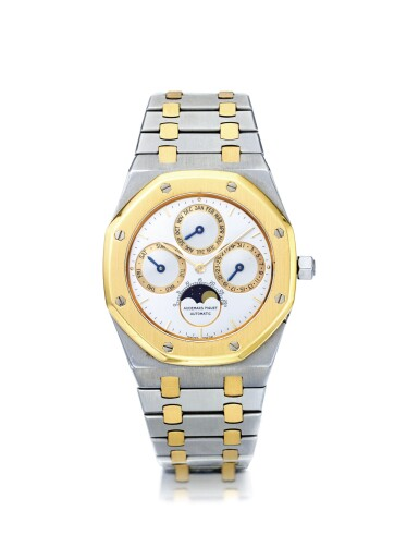 AUDEMARS PIGUET | ROYAL OAK QUANTIEME PERPETUEL AUTOMATIC REF 25654  A STAINLESS STEEL AND YELLOW GOLD AUTOMATIC PERPETUAL CALENDAR WRISTWATCH WITH MOON PHASES CIRCA 1990