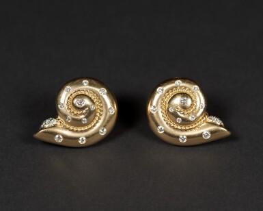View 1. Thumbnail of Lot 39. Smooth Snail Diamond Earrings .