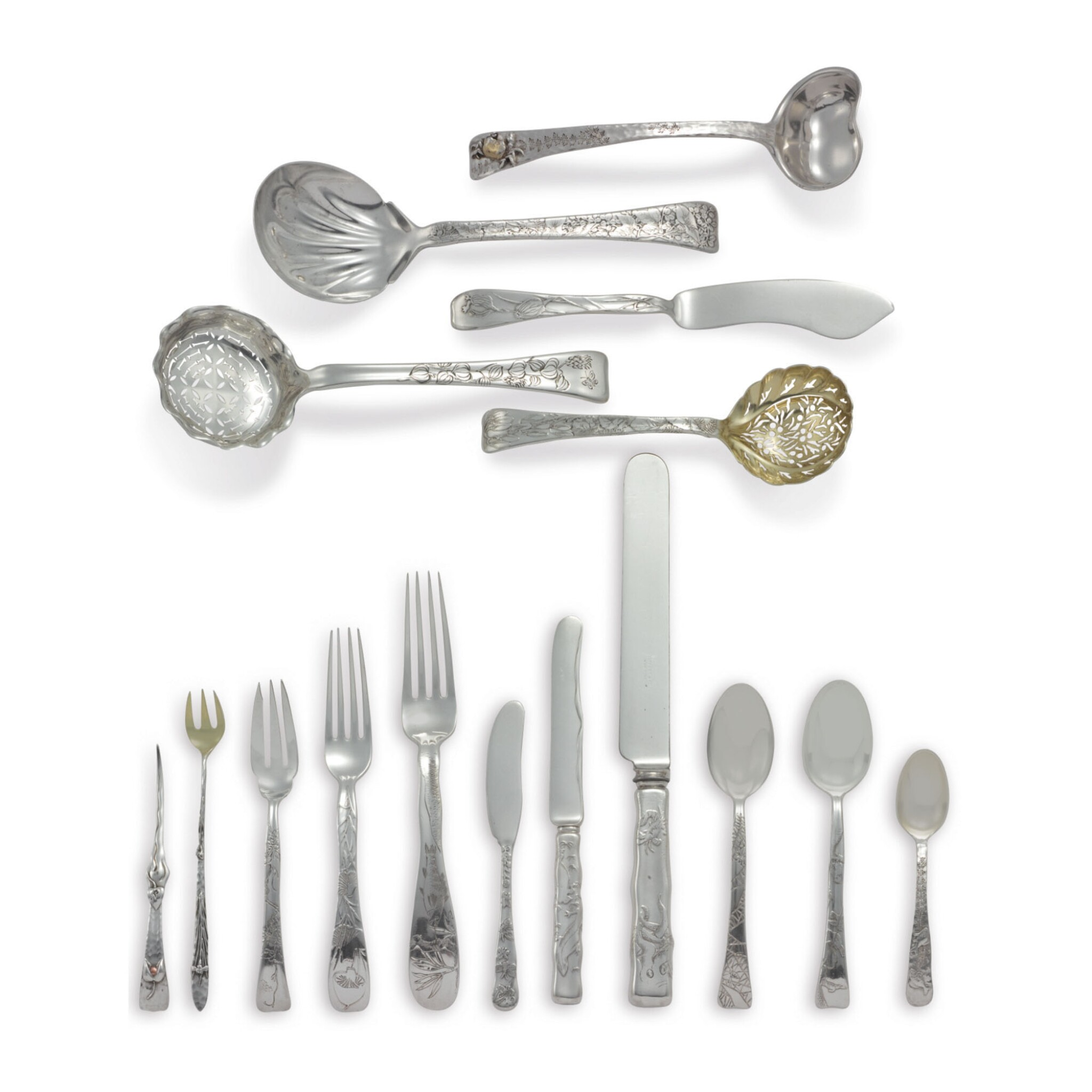View full screen - View 1 of Lot 1814. AN ASSEMBLED AMERICAN SILVER LAP OVER EDGE FLATWARE SERVICE, TIFFANY & CO., NEW YORK, LATE 19TH CENTURY.