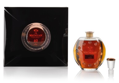 View 1. Thumbnail of Lot 26. The Macallan 60 Year Old in Lalique, 6 Pillars, Fourth Edition, 53.2 abv NV .