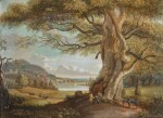 PAUL SANDBY, R.A.   An extensive pastoral landscape with figures and a horse beneath a tree, a riverside town in the middle distance