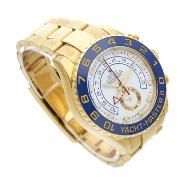 View 3. Thumbnail of Lot 8. Reference 116688 Yacht-Master II A yellow gold automatic regatta chronograph wristwatch with bracelet, Circa 2008 .