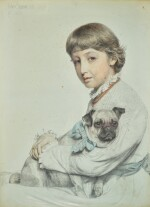 ANTHONY FREDERICK AUGUSTUS SANDYS   Portrait of Reine Chapman and her Pug-Dog