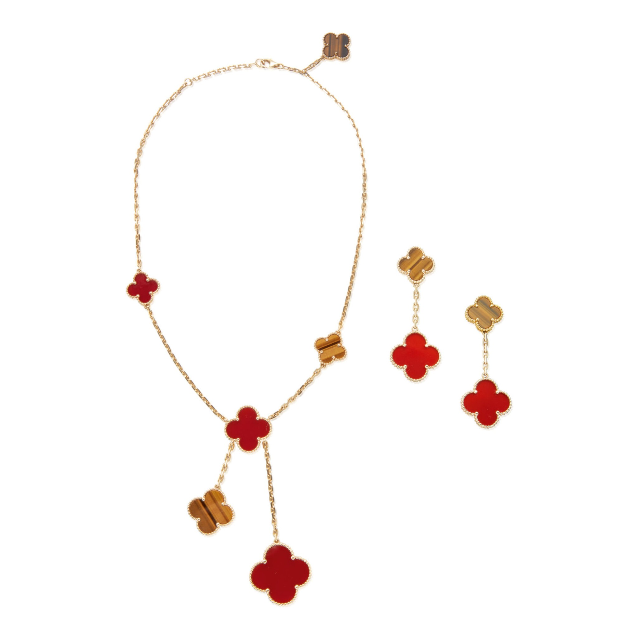 CARNELIAN AND TIGER'S EYE 'MAGIC ALHAMBRA' NECKLACE AND PAIR OF EARCLIPS, VAN CLEEF & ARPELS, FRANCE