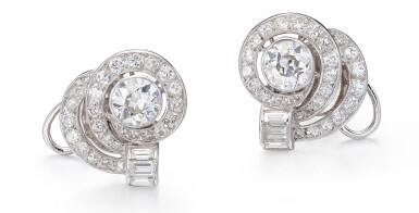 View 1. Thumbnail of Lot 1001. PAIR OF DIAMOND EARRINGS   鑽石耳環一對.