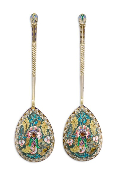 A pair of silver-gilt and cloisonné enamel spoons, 11th Artel, Moscow, 1908-1917