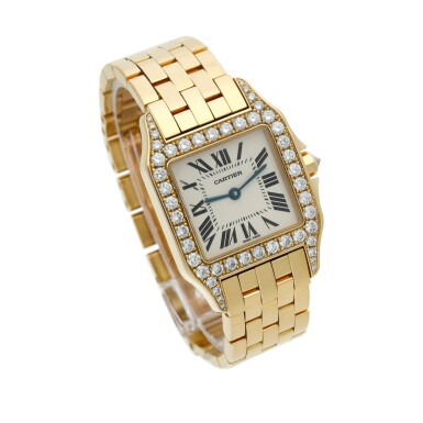 View 2. Thumbnail of Lot 22. Reference 2702 Santos Demoiselle   A yellow gold and diamond-set square shaped wristwatch with bracelet, Circa 2000 .