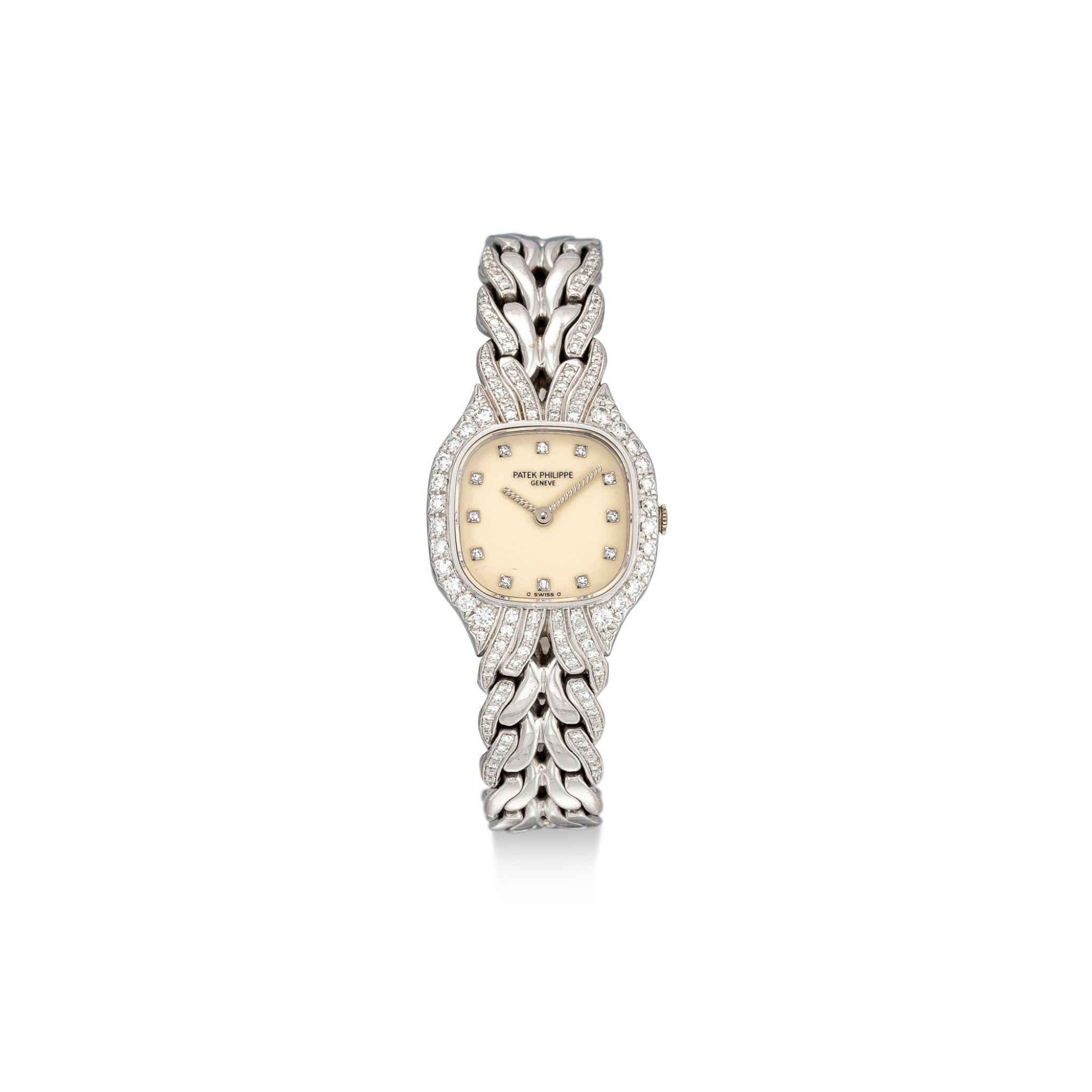 View full screen - View 1 of Lot 8087. PATEK PHILIPPE | LA FLAMME, REFERENCE 4815/3 | A WHITE GOLD AND DIAMOND-SET BRACELET WATCH, CIRCA 1990 | 百達翡麗 | La Flamme 型號4815/ 3 白金鑲鑽石鏈帶腕錶,約1994年製.