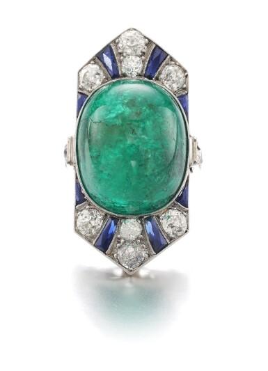 View 1. Thumbnail of Lot 609. Henri Picq | Emerald and gem set and diamond ring, circa 1930 | Henri Picq | 祖母綠配寶石及鑽石戒指,年份約1930.