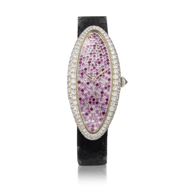 View 1. Thumbnail of Lot 64. Baignoire Allongée, Ref. 2514 A white gold, diamond and pink sapphire-set wristwatch, Circa 2000 | 卡地亞 2514型號「Baignoire Allongée」白金鑲鑽石及粉紅剛玉腕錶,年份約2000.