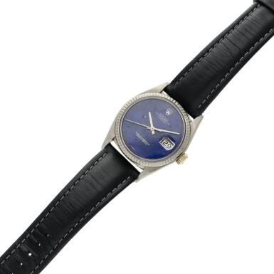 View 6. Thumbnail of Lot 18. Reference 1601 Datejust  A white gold automatic wristwatch with date and lapis lazuli dial, Circa 1977 .
