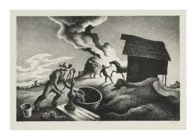 THOMAS HART BENTON | FIRE IN THE BARNYARD (FATH 64)
