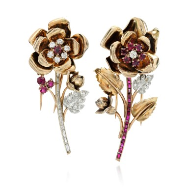 View 2. Thumbnail of Lot 8. PAIR OF RUBY AND DIAMOND CLIP-BROOCHES.
