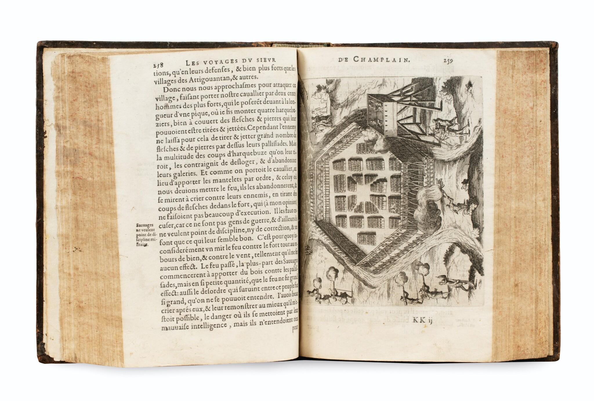 View full screen - View 1 of Lot 103. CHAMPLAIN. Les Voyages de la Nouvelle France occidentale... P., Le Mur, 1632. In-4 basane brune de l'ép. 3e édition .