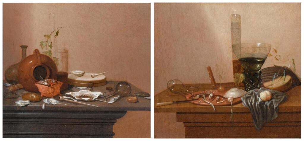GERRIT VAN VUCHT | A still life with smoking attributes such as pipes and a burner; and A still life with a wine glass and sliced herring on a plate