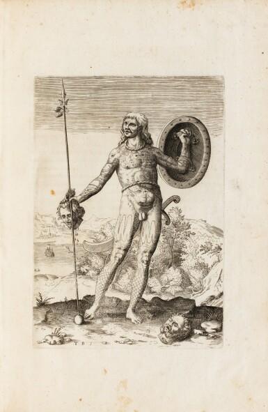 View 5. Thumbnail of Lot 198. [Grands voyages]. Frankfurt, Johann Wechel, 1590-1625.12 parties en 4 volumes in-folio. Vélin ancien..