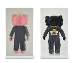 KAWS | DIOR X KAWS BFF粉紅色與黑色絨毛玩具(兩件)DIOR X KAWS BFF Pink and Black Plush Dolls (two works)
