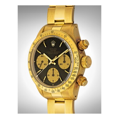 View 2. Thumbnail of Lot 1079. ROLEX | REF 6265/6263 DAYTONA, A YELLOW GOLD CHRONOGRAPH WRISTWATCH WITH REGISTERS AND BRACELET, CIRCA 1986 | 勞力士 |6265/6263型號「DAYTONA」黃金計時鍊帶腕錶,年份約1986.