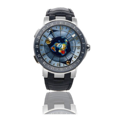 ULYSSE NARDIN | EXECUTIVE MOONSTRUCK WORLDTIMER 1069-113, A PLATINUM AUTOMATIC WORL TIME WRISTWATCH WITH BLUE MOTHER OF PEARL DIAL CIRCA 2019