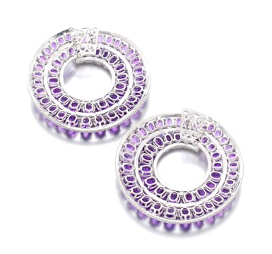 View 3. Thumbnail of Lot 30. MICHELE DELLA VALLE   PAIR OF AMETHYST AND DIAMOND EARRINGS.