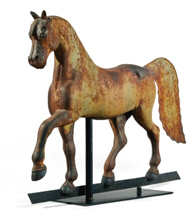 View 3. Thumbnail of Lot 1429.  VERY FINE FULL-BODIED CAST-IRON FORMAL HORSE WEATHERVANE, CIRCA 1890.