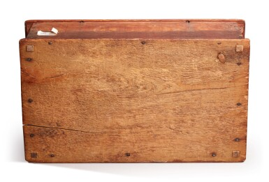 View 4. Thumbnail of Lot 59. Very Fine and Rare Pilgrim Century Red-Painted Carved Oak and Yellow Pine Document Box, attributed to John Moore I, Windsor, Connecticut, circa 1685.