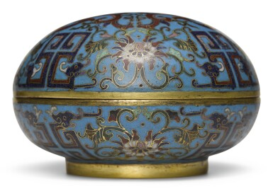 A CLOISONNE ENAMEL CIRCULAR BOX AND COVER | QING DYNASTY, 18TH/19TH CENTURY [TWO ITEMS]
