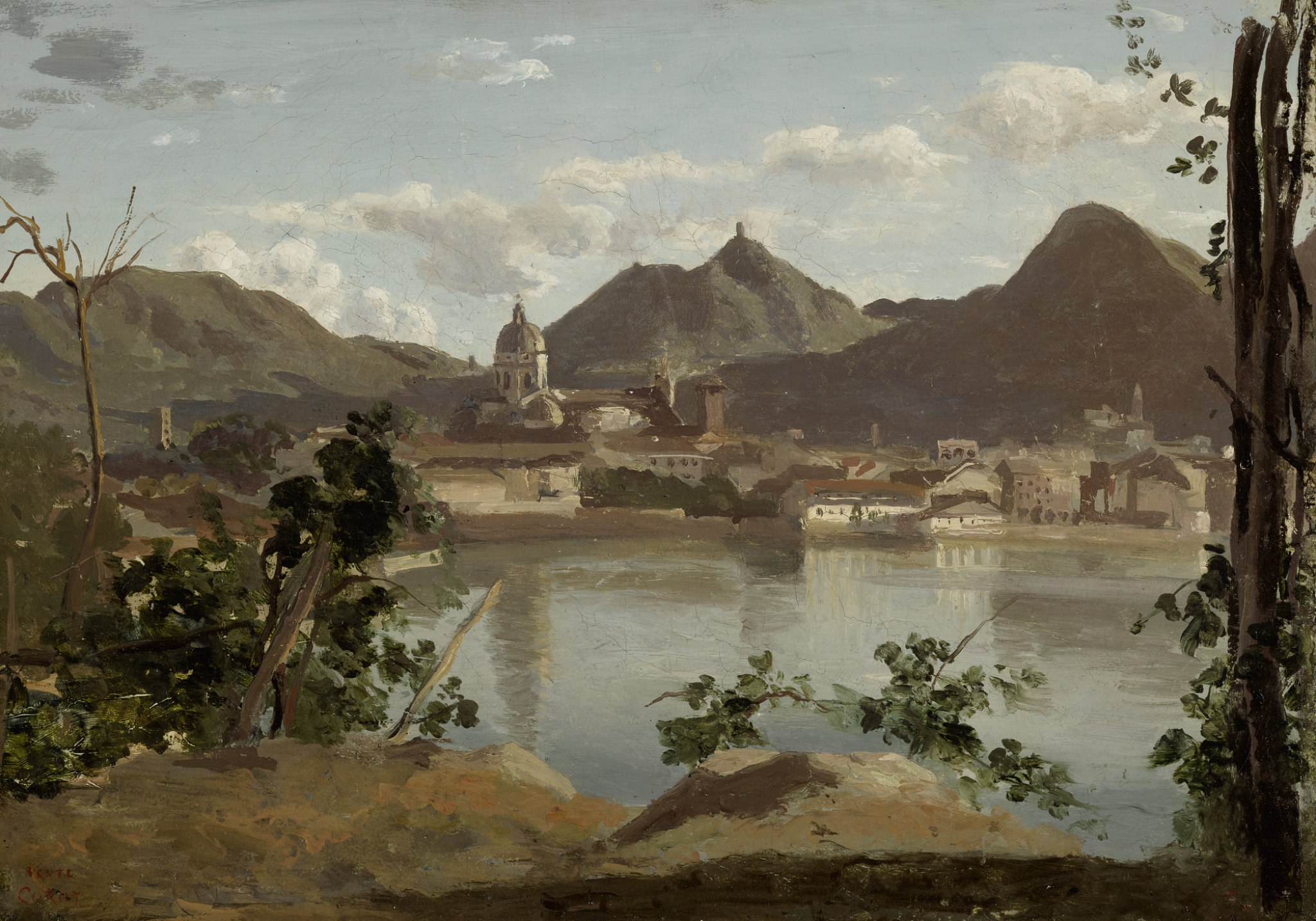 View full screen - View 1 of Lot 52. JEAN-BAPTISTE-CAMILLE COROT | THE TOWN AND LAKE AT COMO.