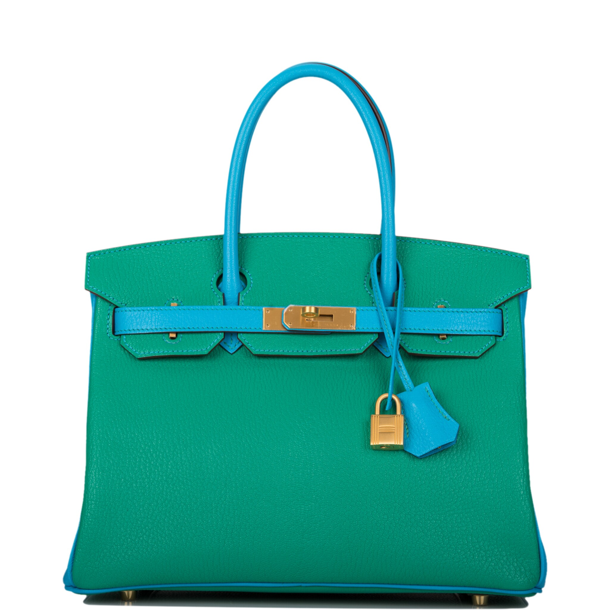 View full screen - View 1 of Lot 92. HERMÈS    HORSESHOE STAMP (HSS) BICOLOR MENTHE AND BLEU AZTEC BIRKIN 30CM OF CHEVRE LEATHER WITH BRUSHED GOLD HARDWARE.