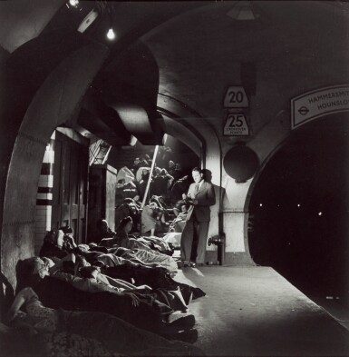 View 1. Thumbnail of Lot 155. Henry Moore in Holborn Underground, London, 1943.
