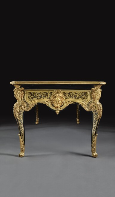 A LOUIS XIV GILT-BRONZE MOUNTED BRASS AND TORTOISESHELL CONTRE-PARTIE MARQUETRY BUREAU PLAT ATTRIBUTED TO ANDRE-CHARLES BOULLE, CIRCA 1715