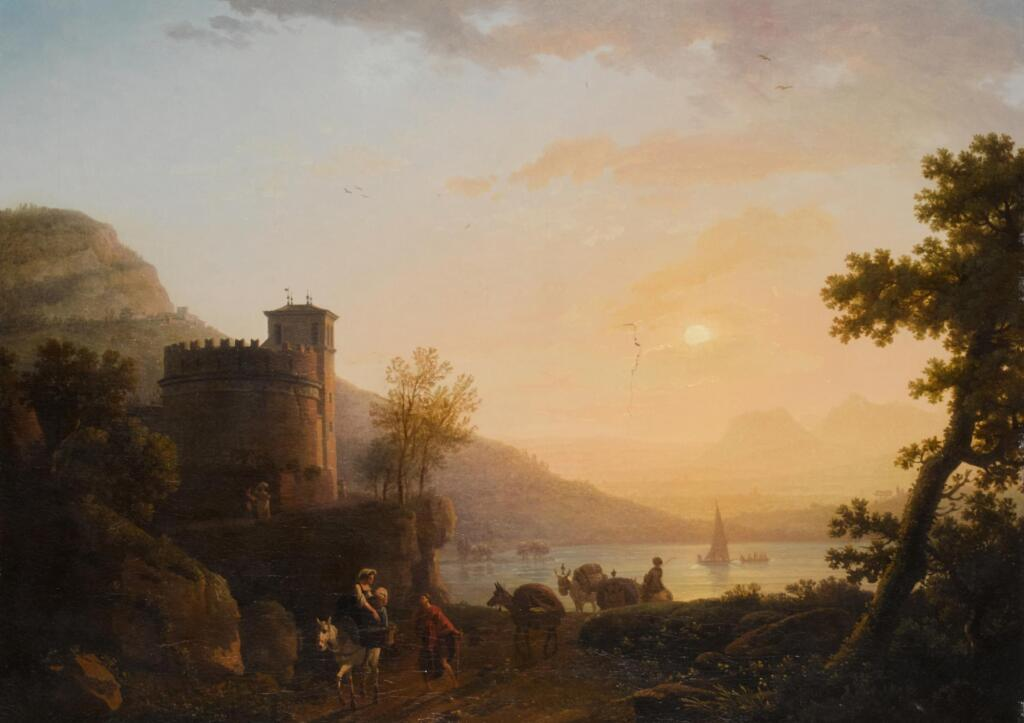 JEAN-FRANÇOIS HUË | A coastal landscape at sunset, with travellers by a fortified tower
