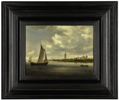 View 2. Thumbnail of Lot 9. A river landscape with sailing boats, possibly a view on the Wijkermeer | 《河上帆船風景,應為維格米爾的景觀》.