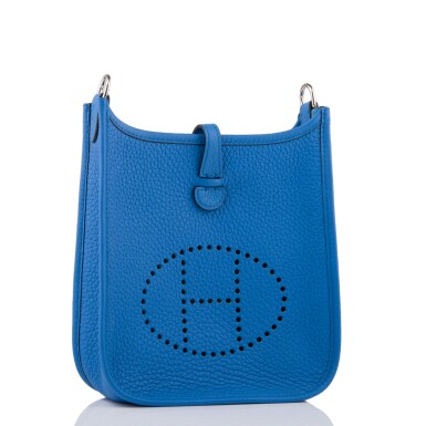 View 2. Thumbnail of Lot 17. Hermès Bleu Zanizbar Evelyne TPM of Clemence Leather with Palladium Hardware.