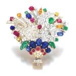 Moroni | Gem set and diamond brooch | Moroni | 寶石配鑽石別針