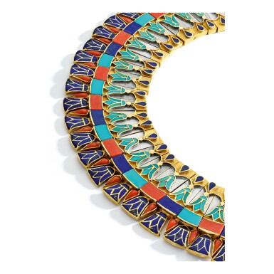 View 2. Thumbnail of Lot 211. Gold, Coral, Turquoise and Lapis Lazuli Necklace.