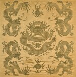 A PALE YELLOW-GROUND SILK BROCADE 'DRAGON' PANEL QING DYNASTY, 19TH CENTURY | 清十九世紀 黃地錦織五龍趕珠紋墊面