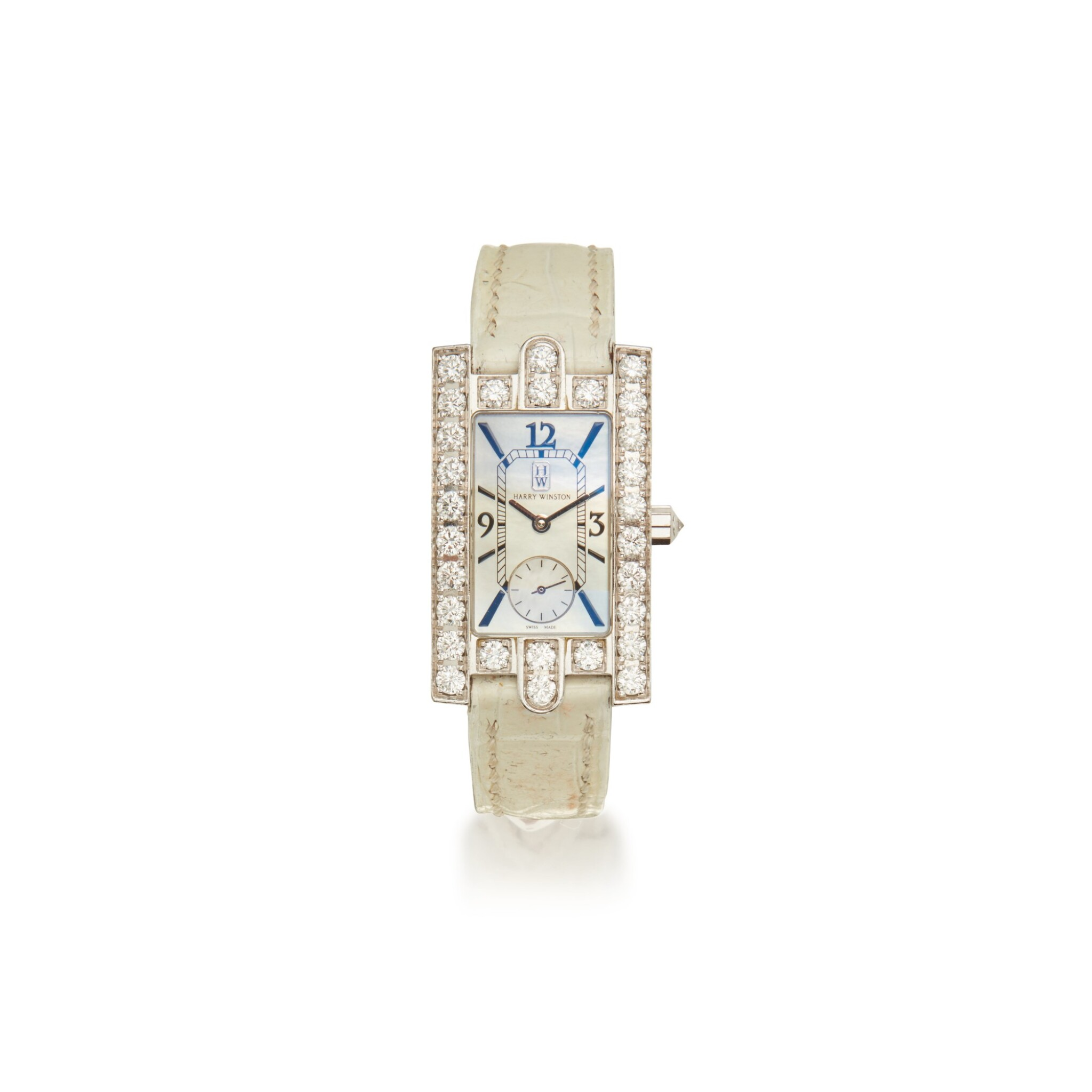 View full screen - View 1 of Lot 336. Harry Winston | Mother-of-Pearl and Diamond 'Avenue' Wristwatch.