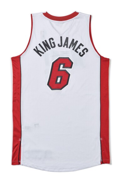 "View 2. Thumbnail of Lot 1. LeBron James ""King James"" Game Worn 2013-2014 Season Jersey."