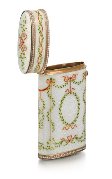 View 3. Thumbnail of Lot 41. A rare Fabergé jewelled gold-mounted and guilloché enamel cigarette case, workmaster Michael Perchin, St Petersburg, 1899-1903.