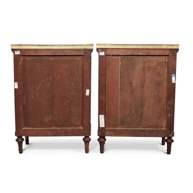 View 4. Thumbnail of Lot 127. A Pair of Louis XVI Mahogany Side Cabinets by Jean-François Leleu, Second Half 18th Century.