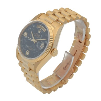 View 2. Thumbnail of Lot 406. DAY-DATE, REF 18038 YELLOW GOLD AND DIAMOND-SET WRISTWATCH WITH DAY, DATE, BRACELET AND AMMONITE DIAL CIRCA 1979.