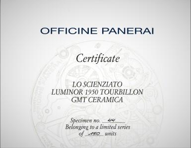 View 9. Thumbnail of Lot 311. Reference PAM00528 Luminor 1950 Tourbillon GMT  A limited edition black ceramic and titanium skeletonized tourbillon dual time wristwatch, Circa 2014.