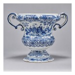 A DRESDEN FAIENCE BLUE AND WHITE TWO-HANDLED VASE EARLY 18TH CENTURY
