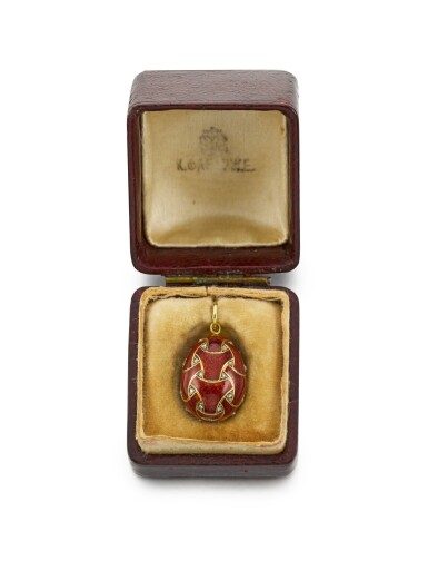 View 3. Thumbnail of Lot 14. A Fabergé jewelled gold and guilloché enamel egg pendant, workmaster Henrik Wigström, St Petersburg, circa 1900.