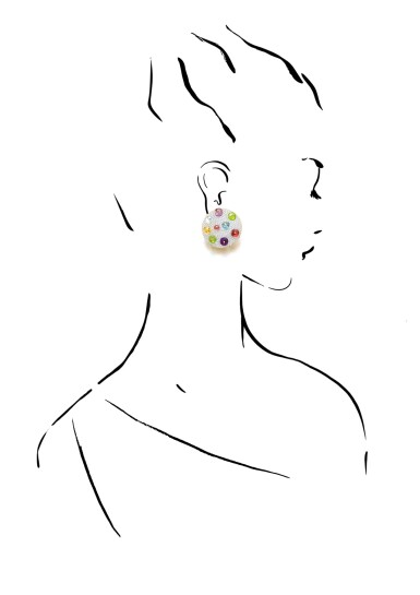 View 4. Thumbnail of Lot 1. MICHELE DELLA VALLE | PAIR OF GEM SET AND DIAMOND EAR CLIPS.