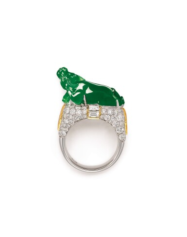 View 2. Thumbnail of Lot 1629. Jadeite and Diamond 'Lucky Ox' Ring | 天然翡翠 配 鑽石 【牛氣沖天】戒指.