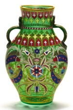 A J. & L. LOBMEYR GILDED AND ENAMELLED TWO-HANDLED GREEN GLASS VASE, SIGNED WITH MONOGRAM, VIENNA, LATE 19TH CENTURY