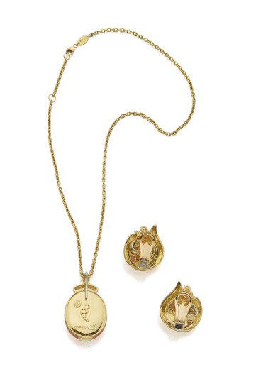 View 3. Thumbnail of Lot 103. GOLD, MOONSTONE AND DIAMOND PENDANT-NECKLACE AND PAIR OF EARCLIPS, HENRY DUNAY.