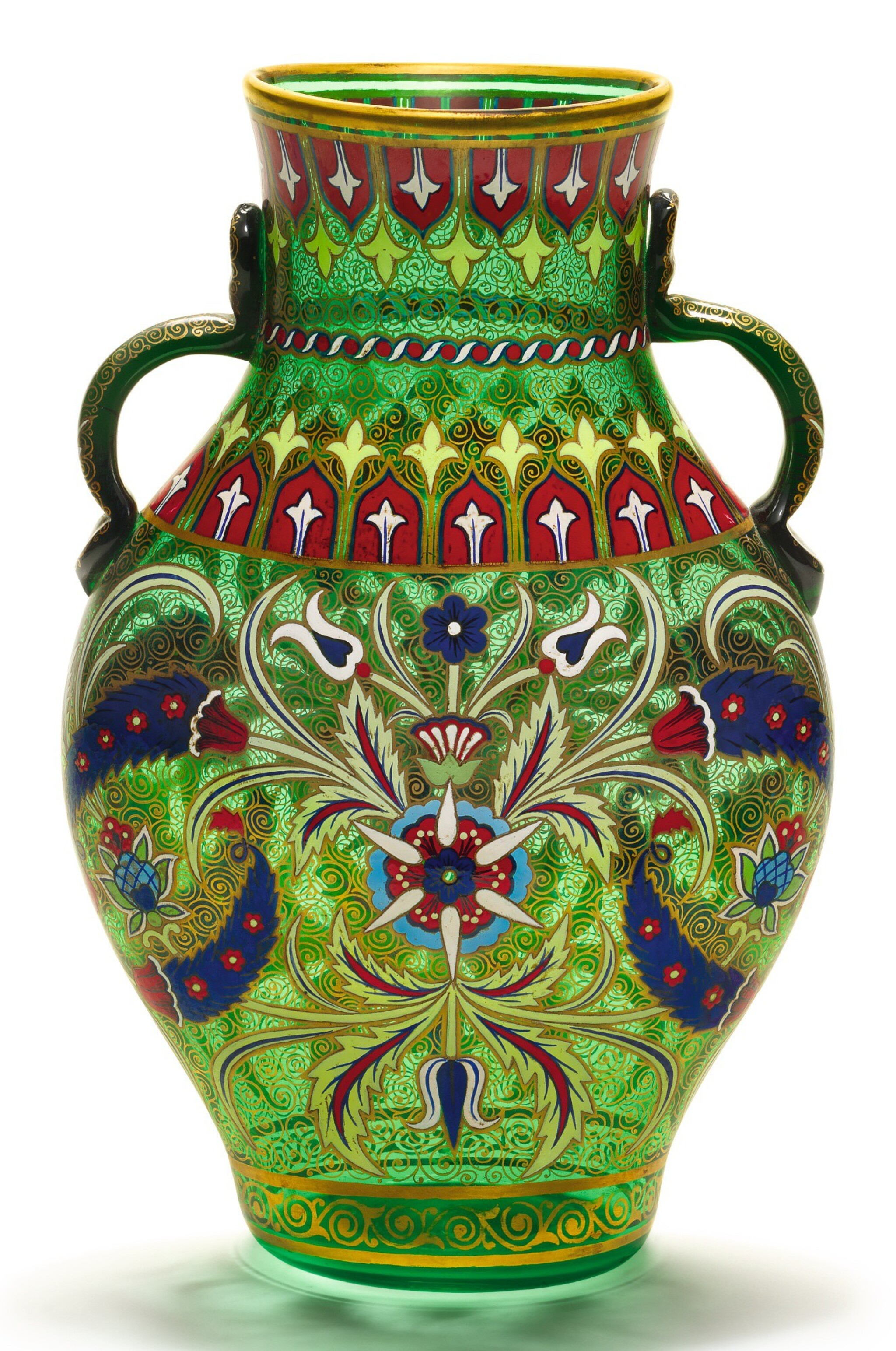 View full screen - View 1 of Lot 231. A J. & L. LOBMEYR GILDED AND ENAMELLED TWO-HANDLED GREEN GLASS VASE, SIGNED WITH MONOGRAM, VIENNA, LATE 19TH CENTURY.